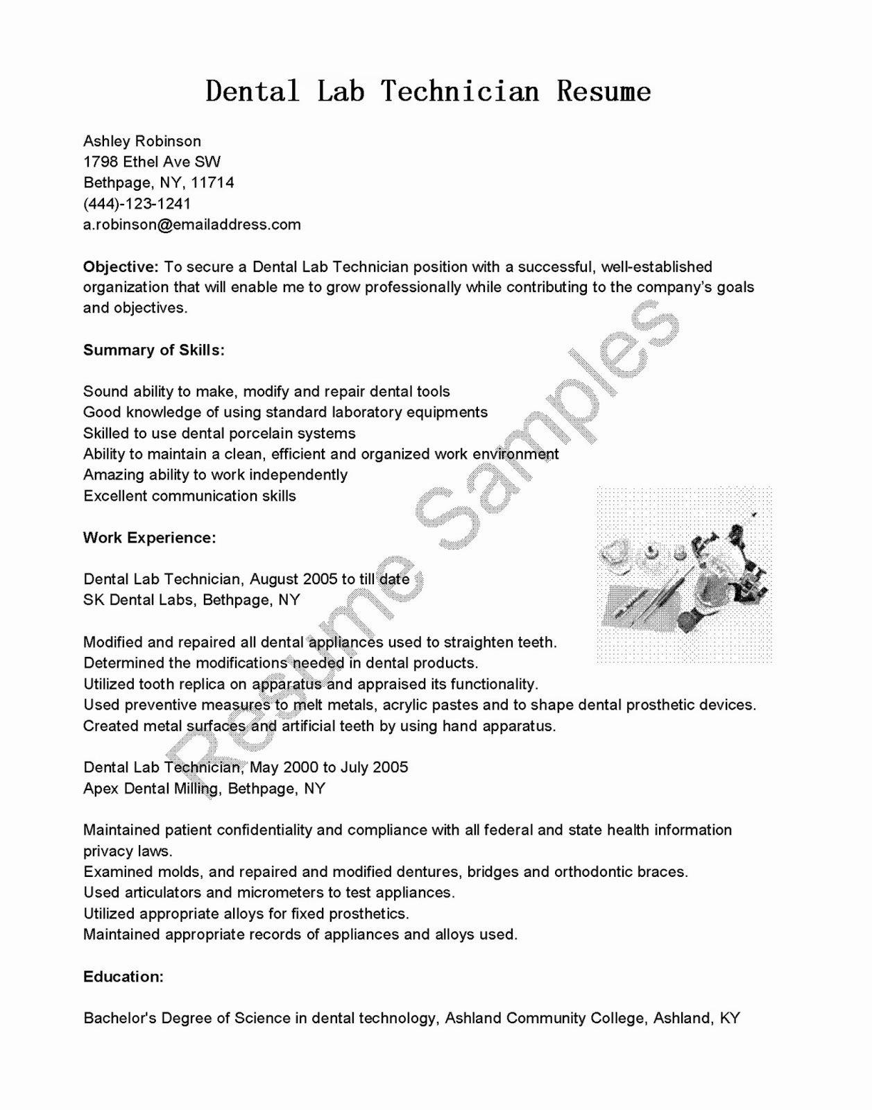 Resume Samples Dental Lab Technician Resume Sample