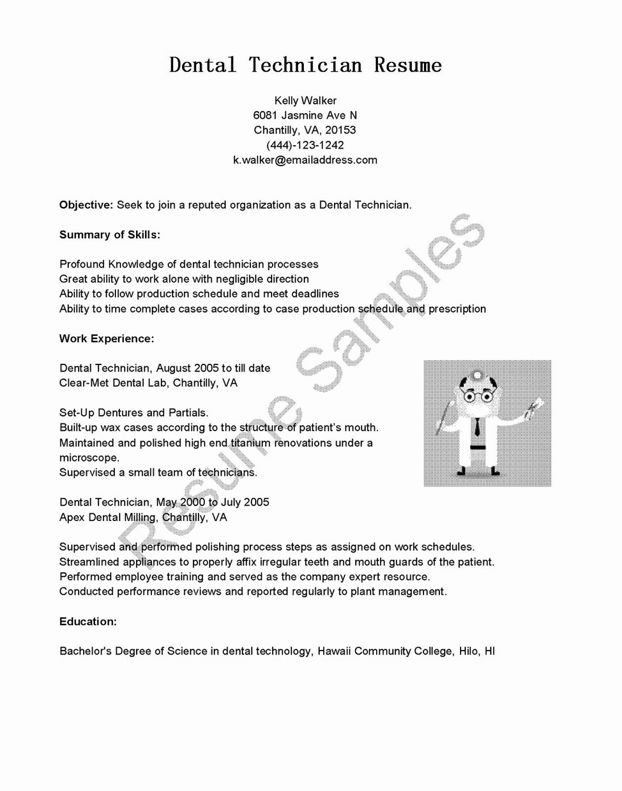 Resume Samples Dental Technician Resume Sample