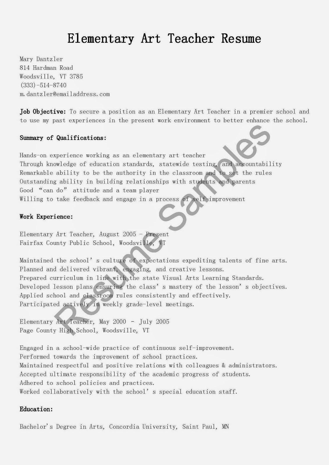 Resume Samples Elementary Art Teacher Resume Sample