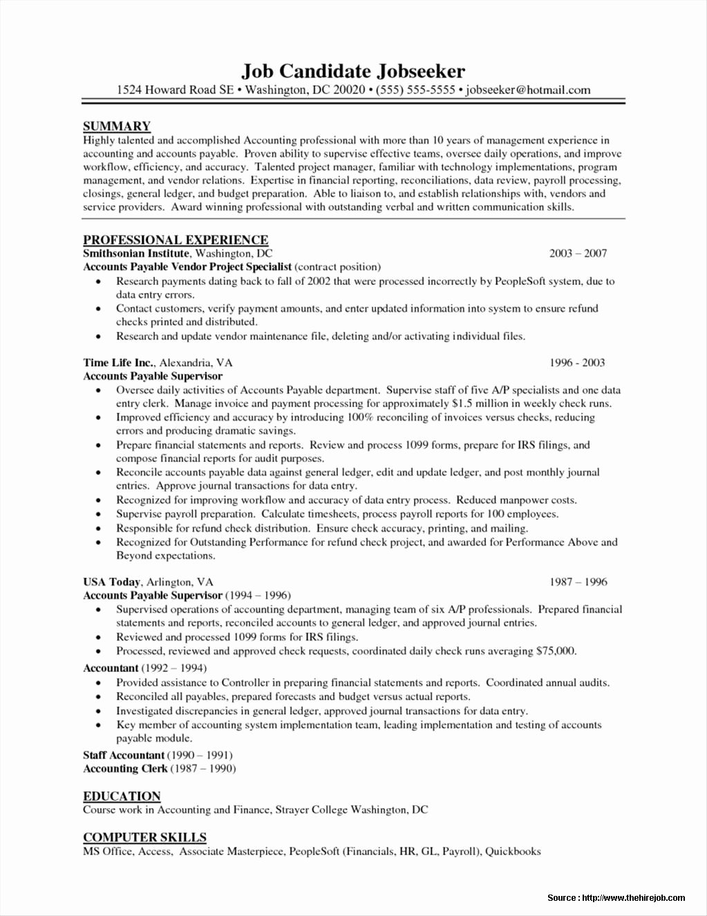 Resume Samples for Accounts Payable Resume Resume