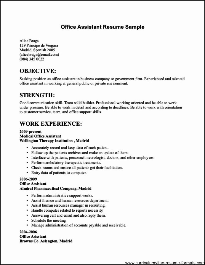 Resume Samples for Fice Jobs Free Samples Examples