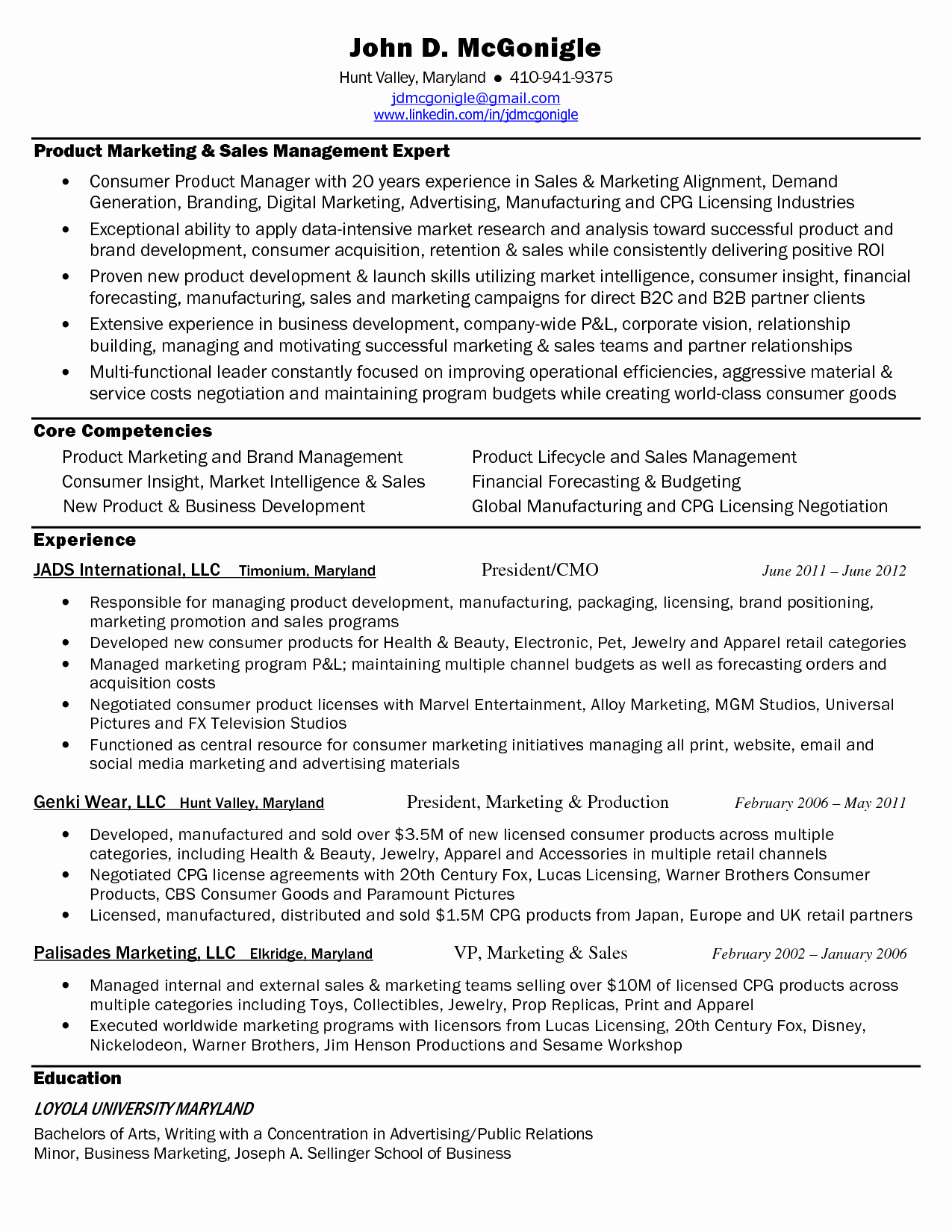 Resume Samples for Marketing Manager Products