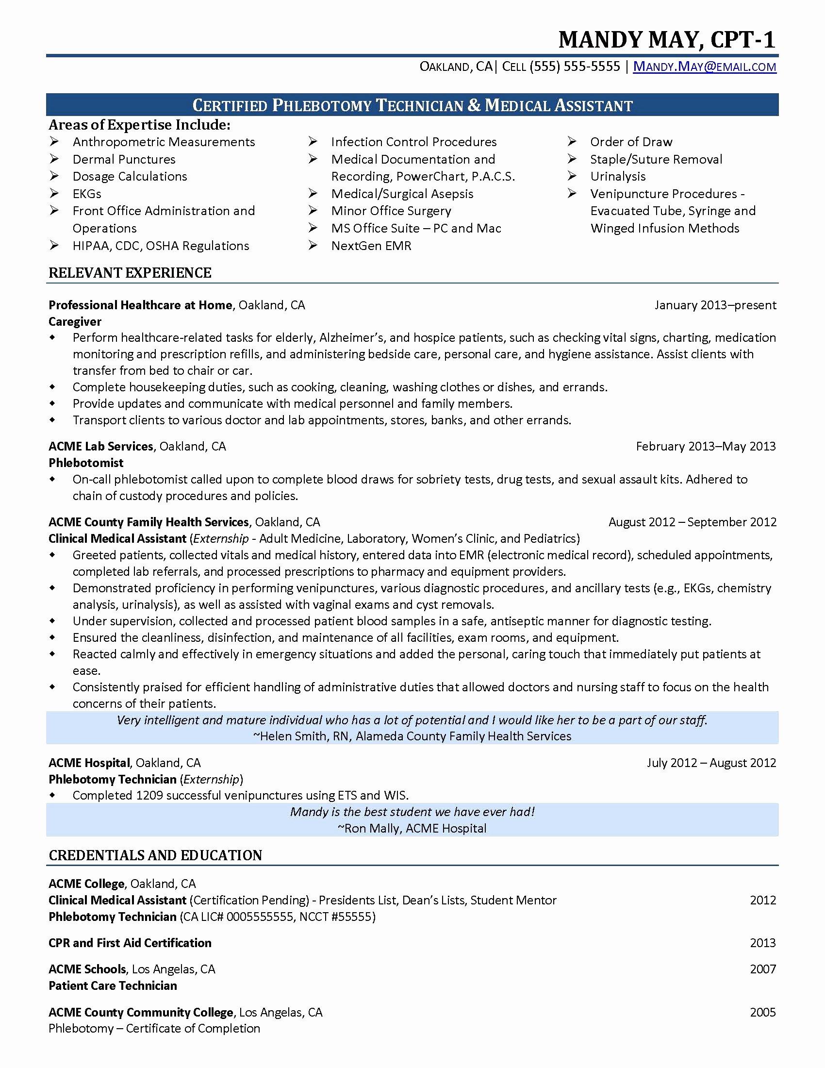 Resume Samples for Medical assistant Student