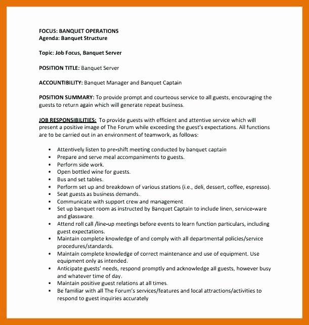 Resume Samples for Server Position Nyustraus