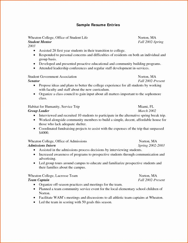 Resume Samples for Students Sample Resume for College