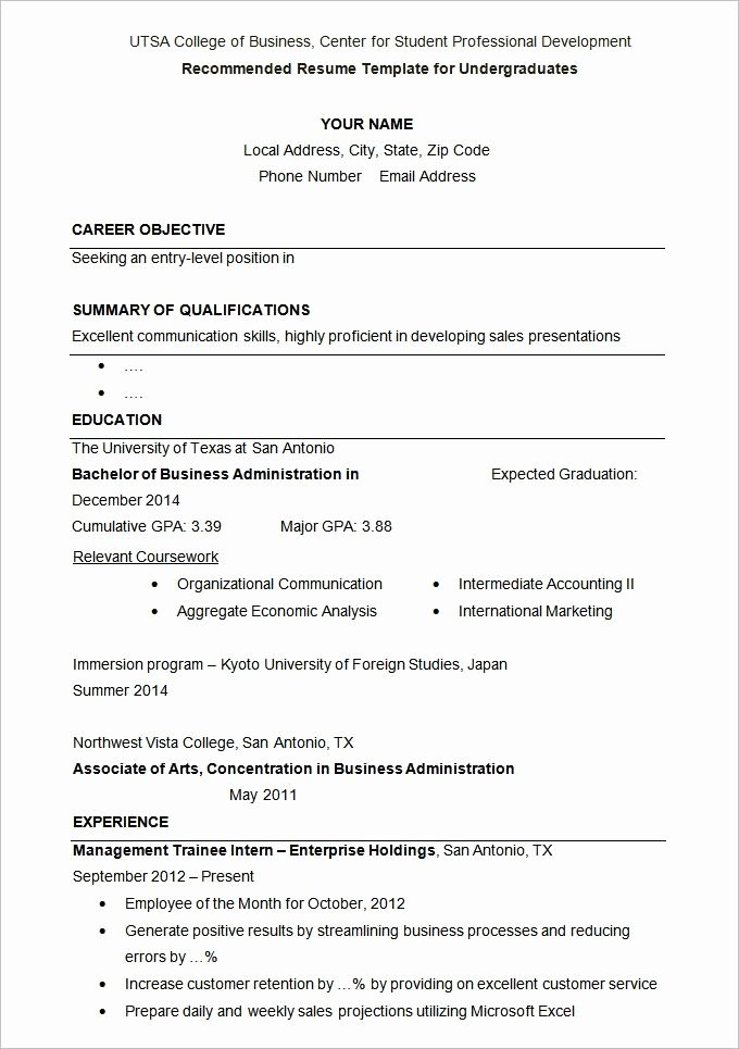 Resume Samples for University Students Best Resume