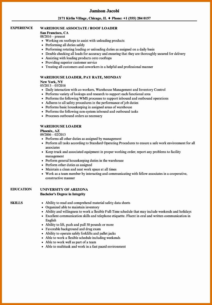 Resume Samples for Warehouse Sarahepps