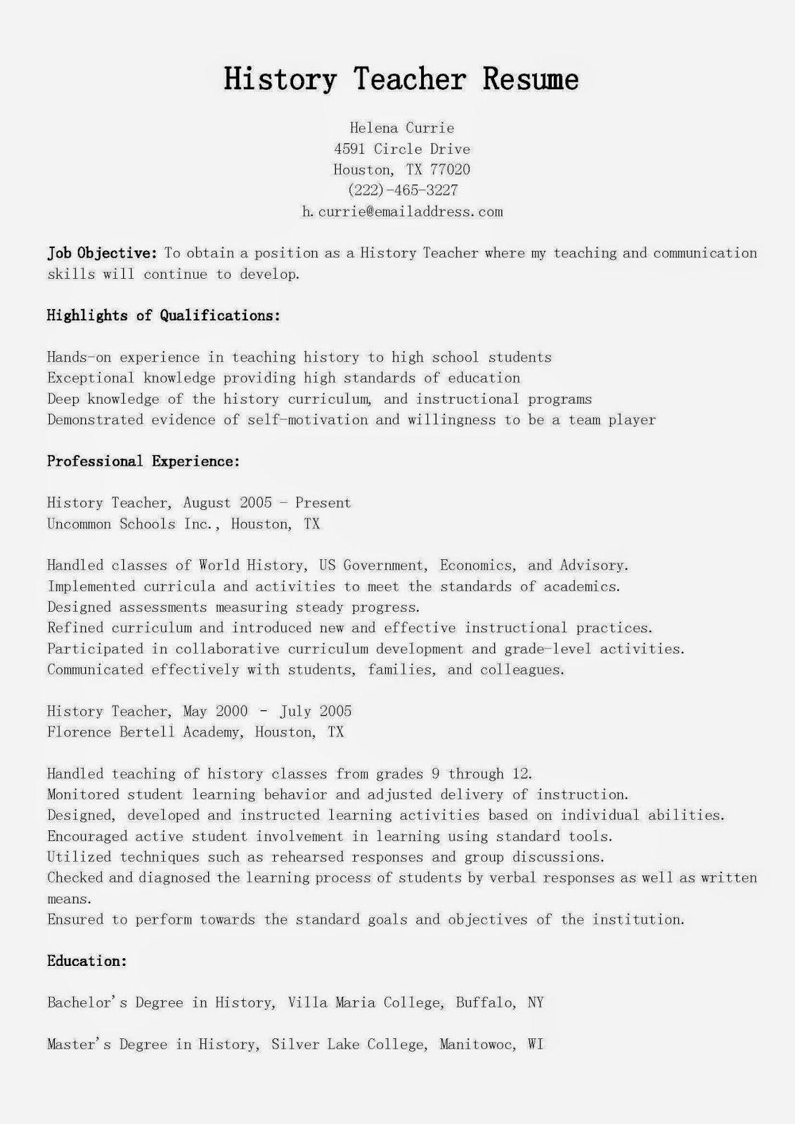 Resume Samples History Teacher Resume Sample