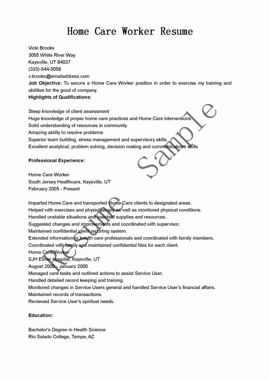 Resume Samples Home Care Worker Resume Sample
