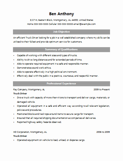 Resume Samples Home Delivery Driver Resume