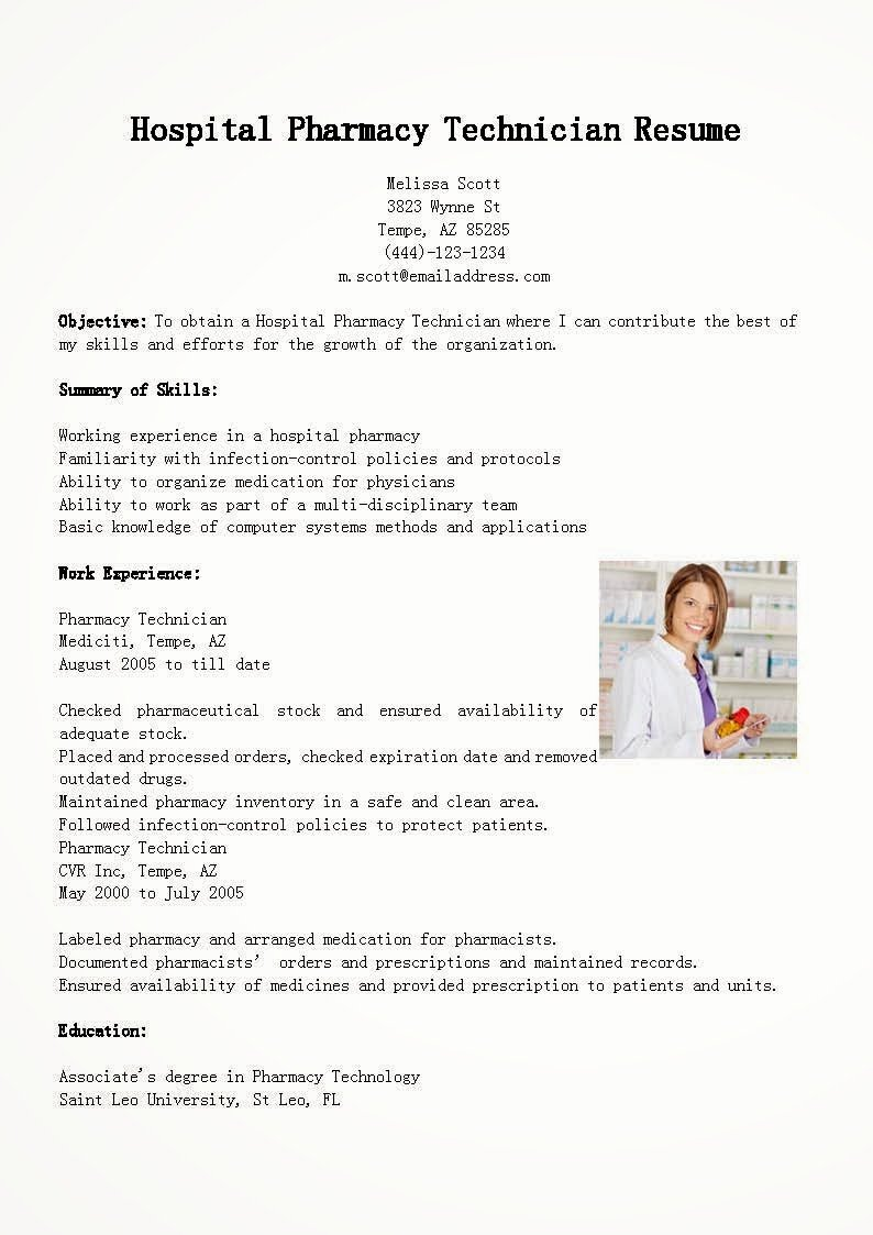 Resume Samples Hospital Pharmacy Technician Resume Sample