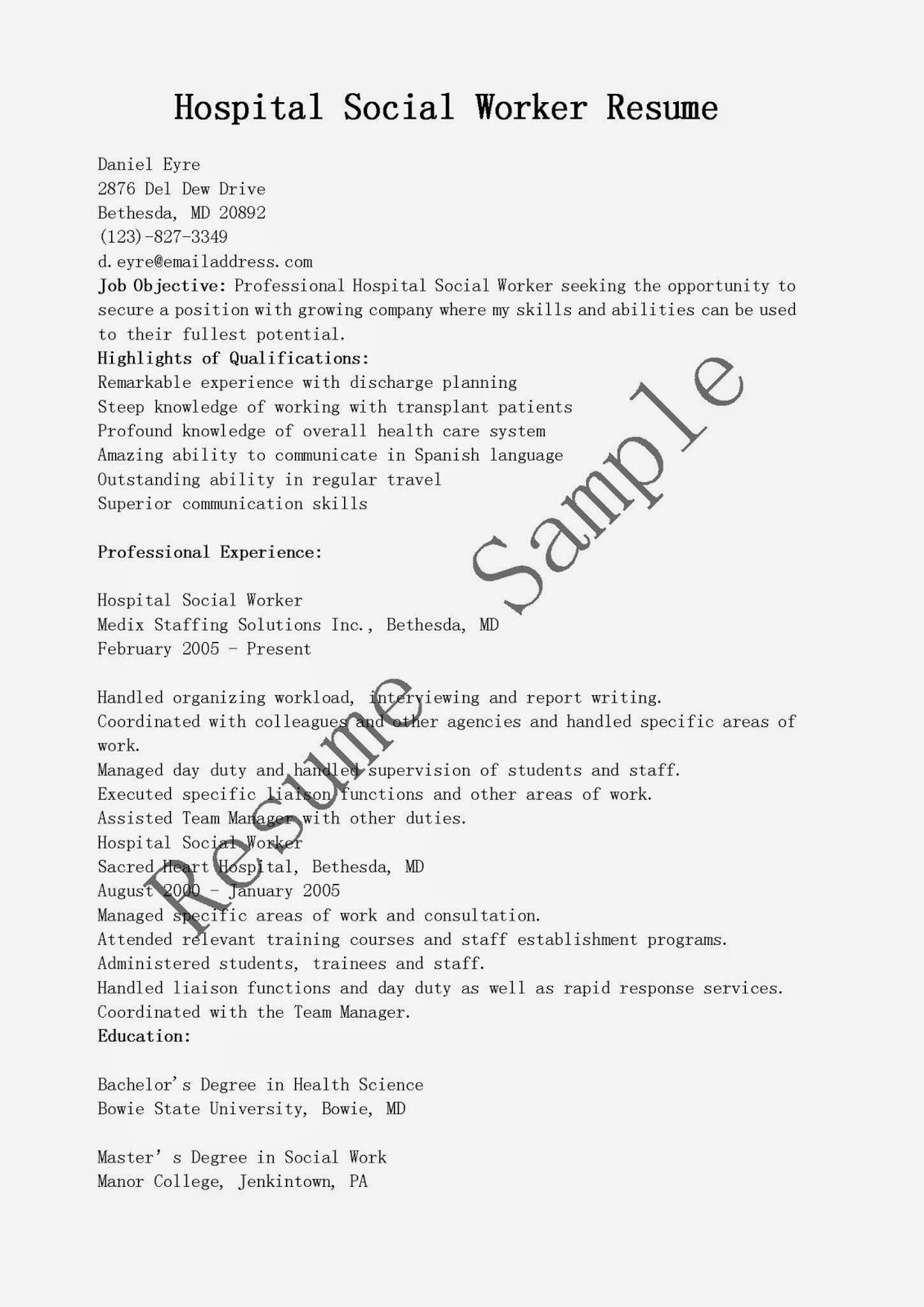 hospital social worker resume sample