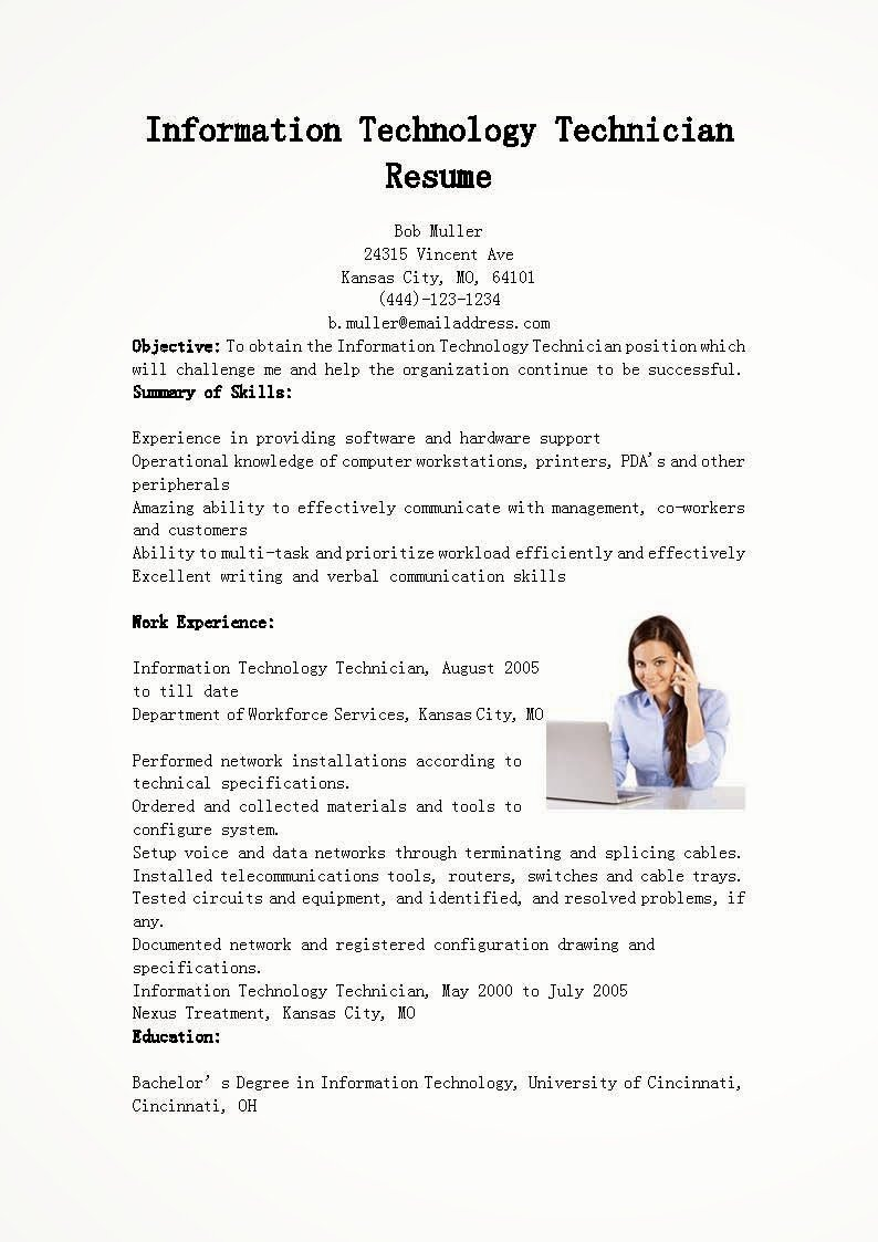Resume Samples Information Technology Technician Resume