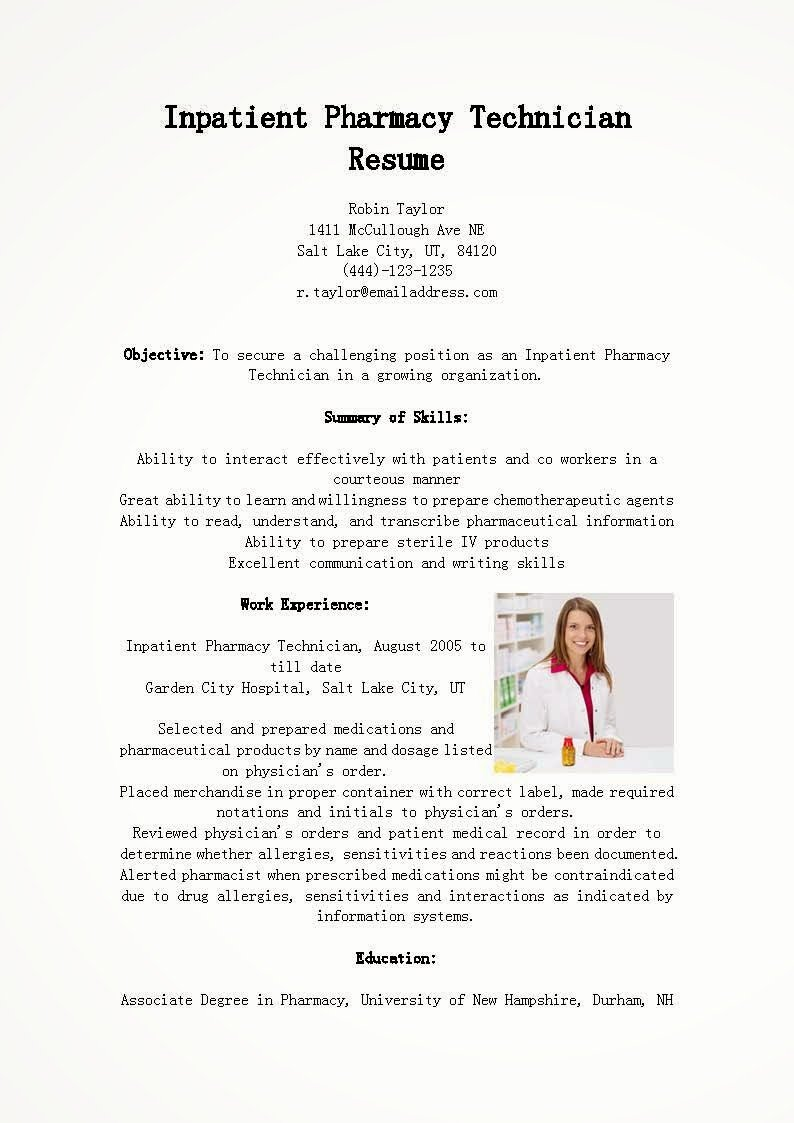 inpatient pharmacy technician resume