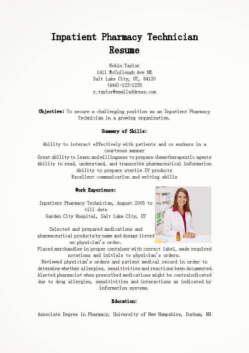 Resume Samples Inpatient Pharmacy Technician Resume Sample