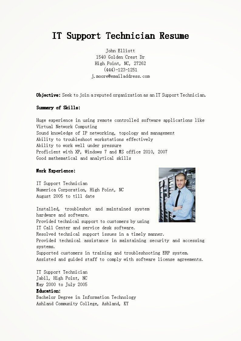 Resume Samples It Support Technician Resume Sample