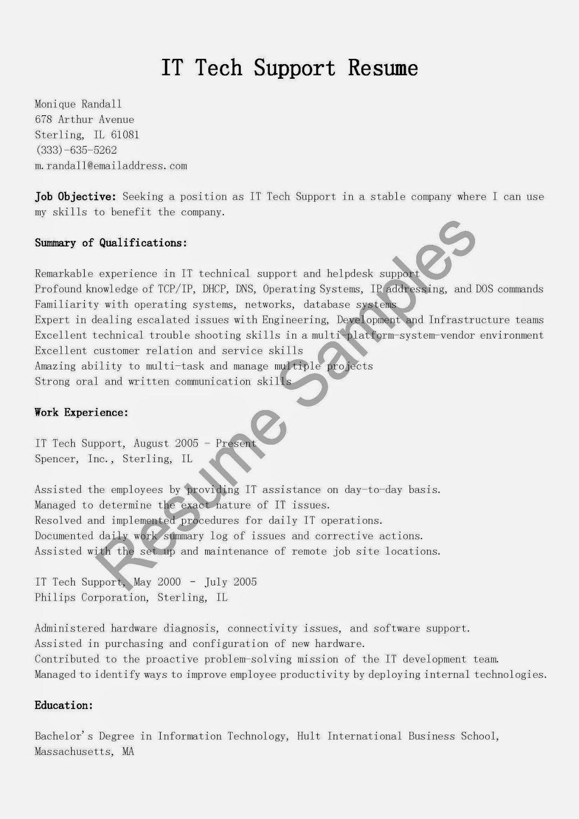Resume Samples It Tech Support Resume Sample