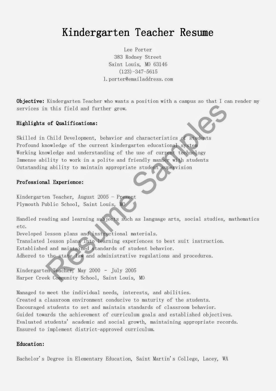 Resume Samples Kindergarten Teacher Resume Sample