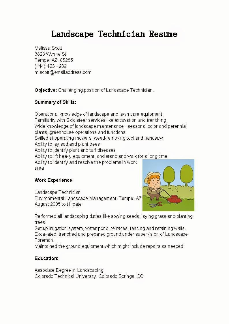 Resume Samples Landscape Technician Resume Sample