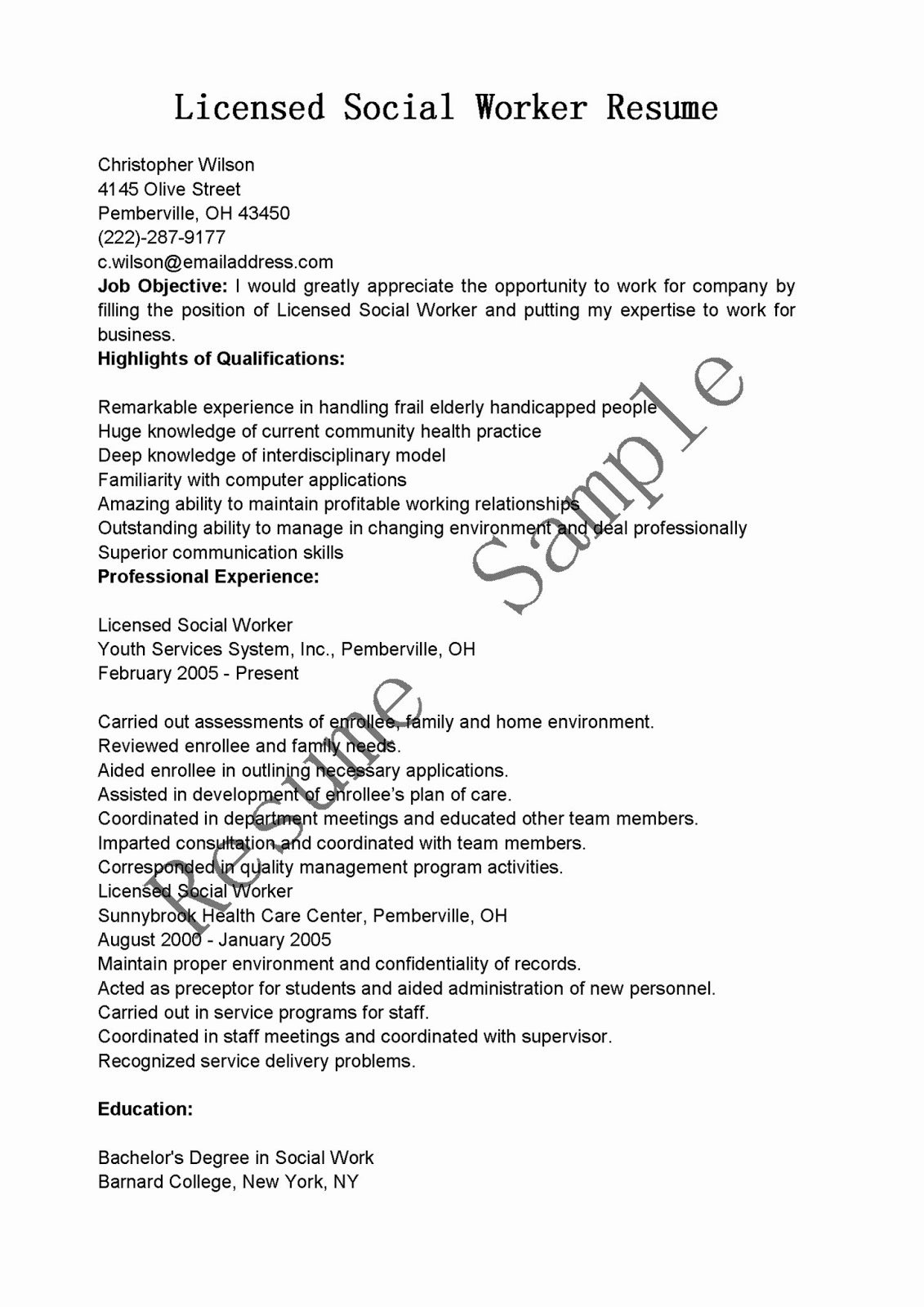Resume Samples Licensed social Worker Resume Sample