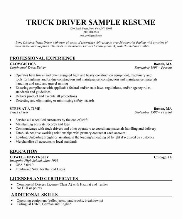 Resume Samples Local Delivery Driver Resume