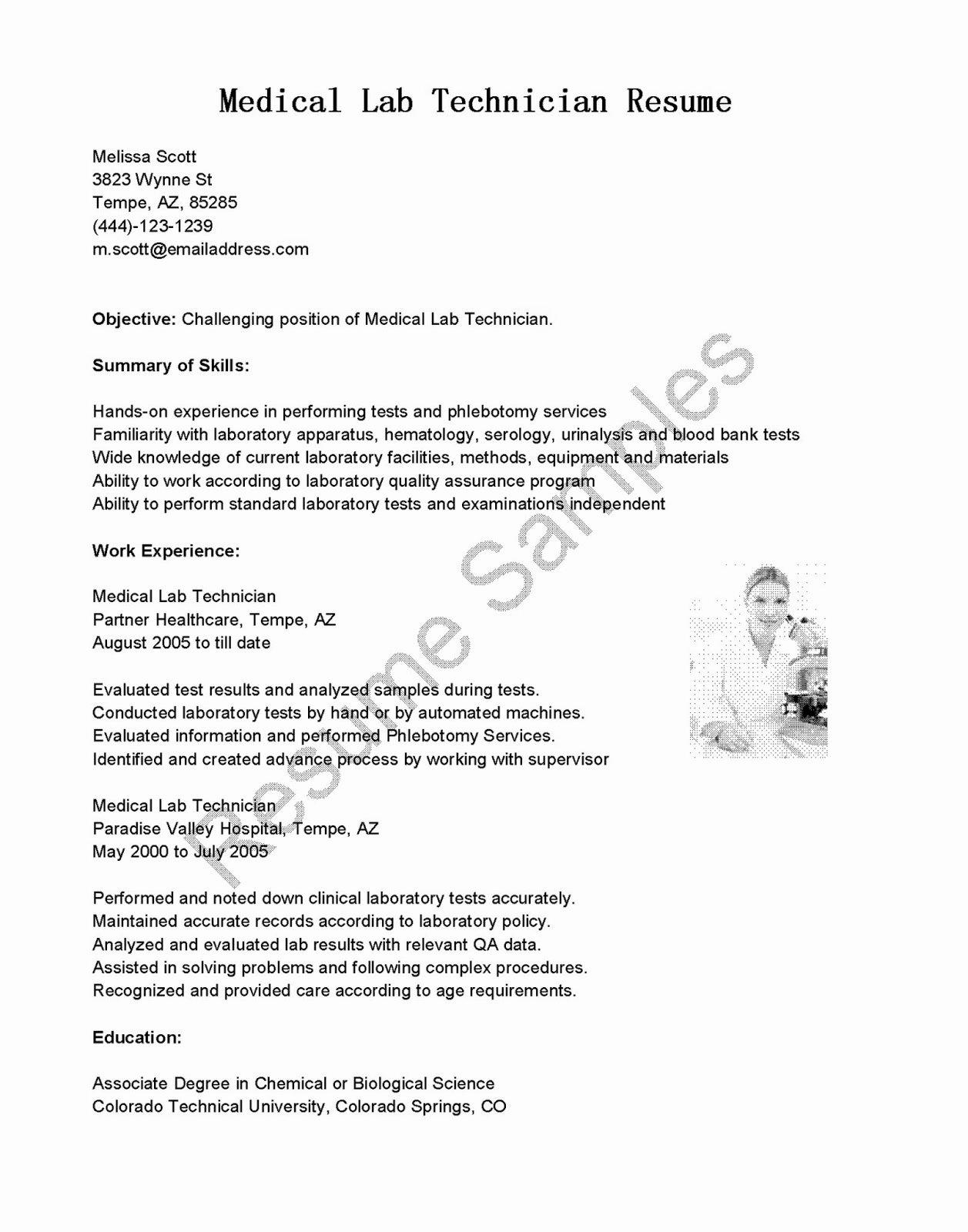Resume Samples Medical Lab Technician Resume Sample