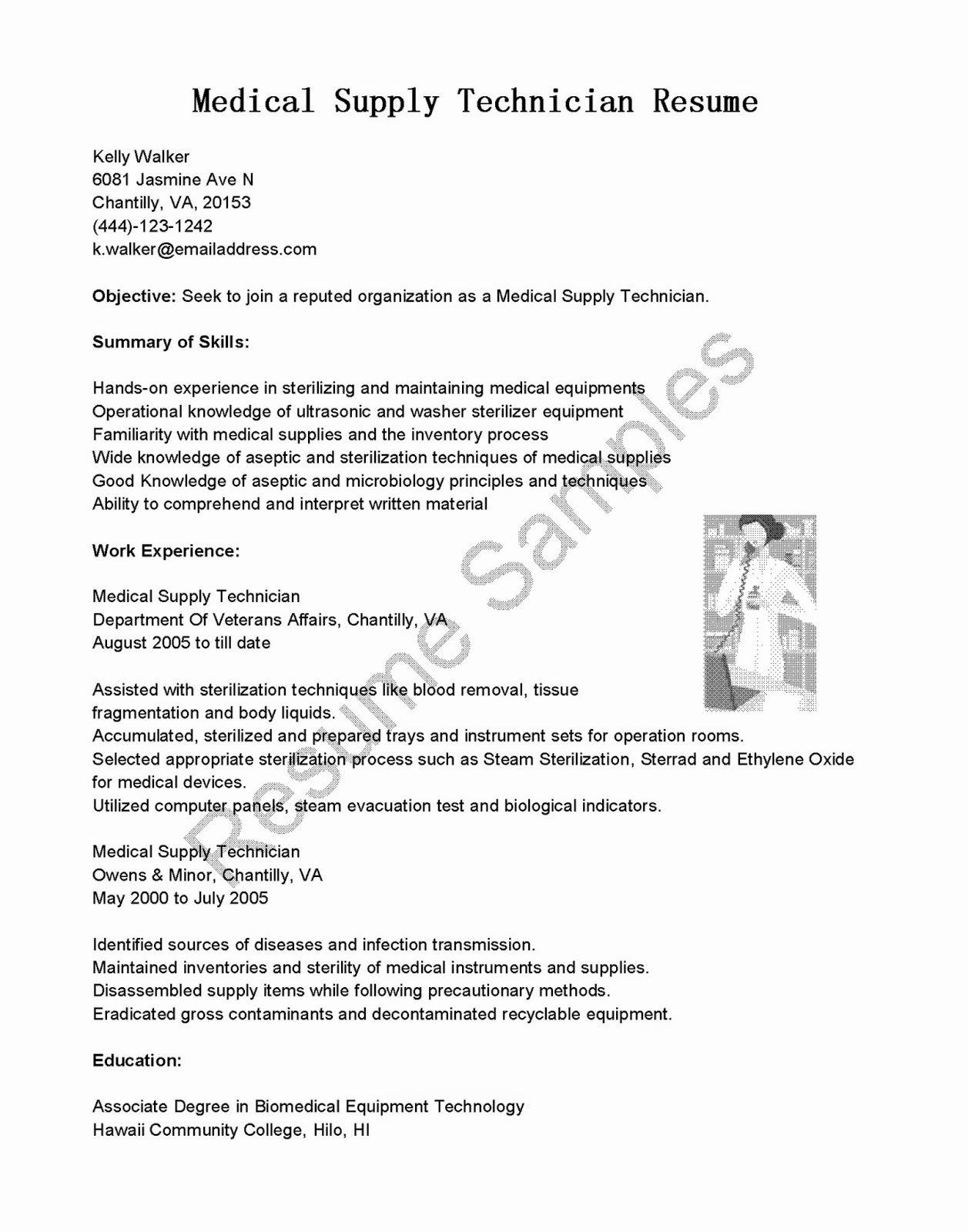 Resume Samples Medical Supply Technician Resume Sample