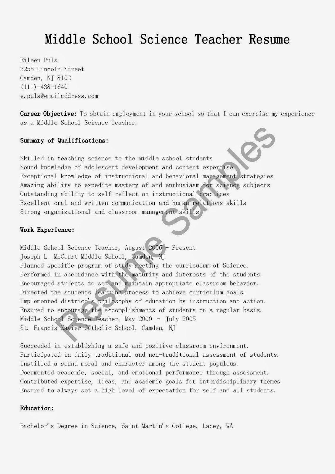 Resume Samples Middle School Science Teacher Resume Sample
