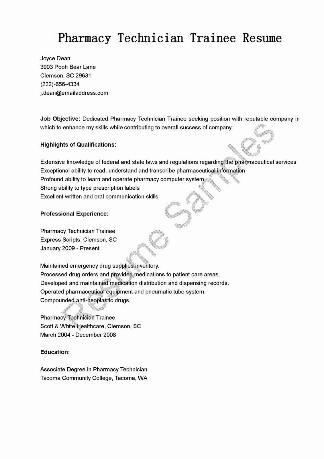Resume Samples Pharmacy Technician Trainee Resume Sample