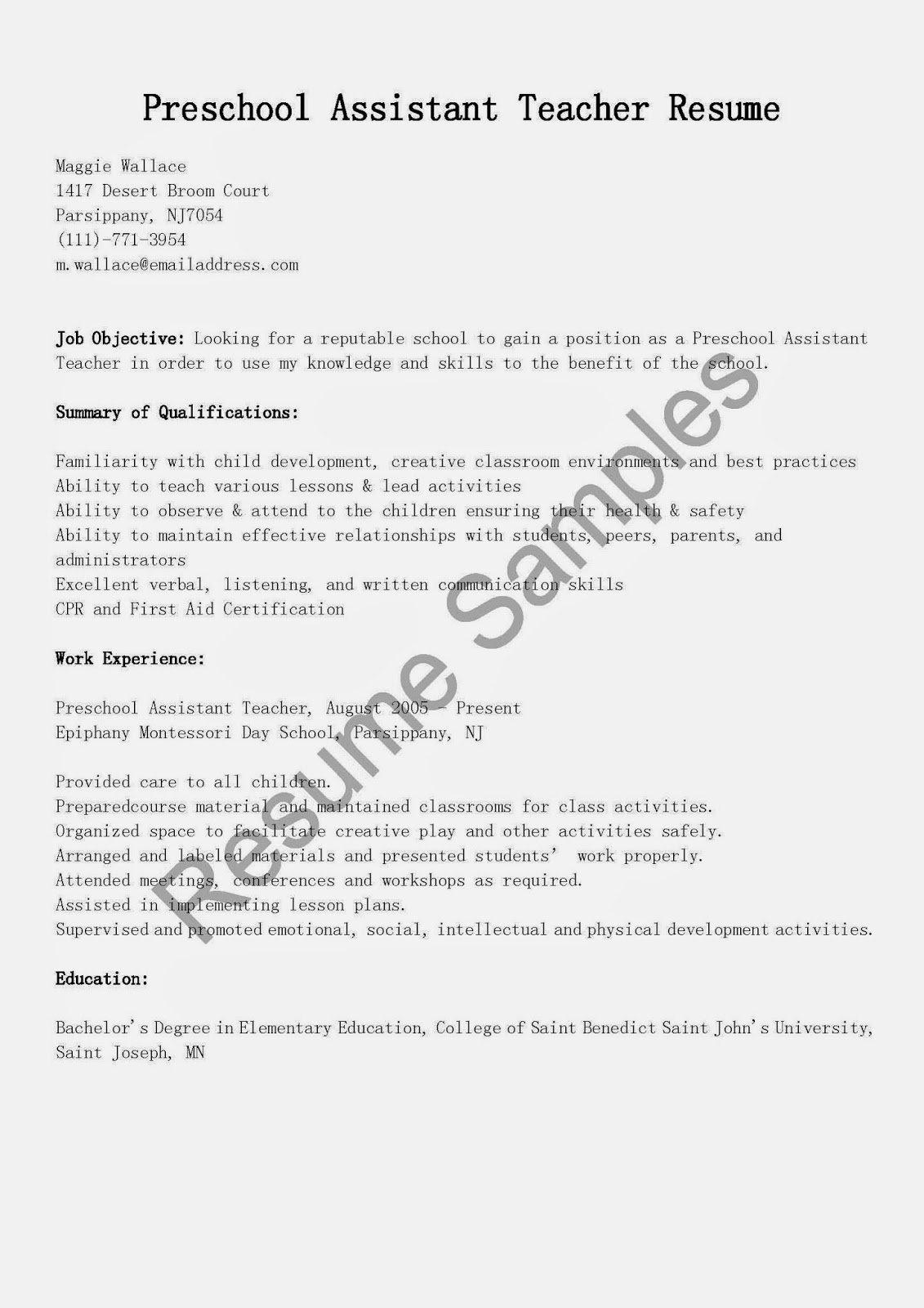 Resume Samples Preschool assistant Teacher Resume Sample