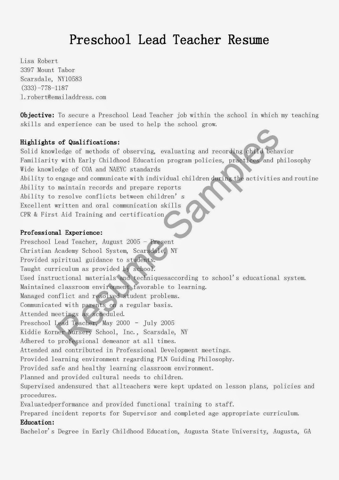 Resume Samples Preschool Lead Teacher Resume Sample