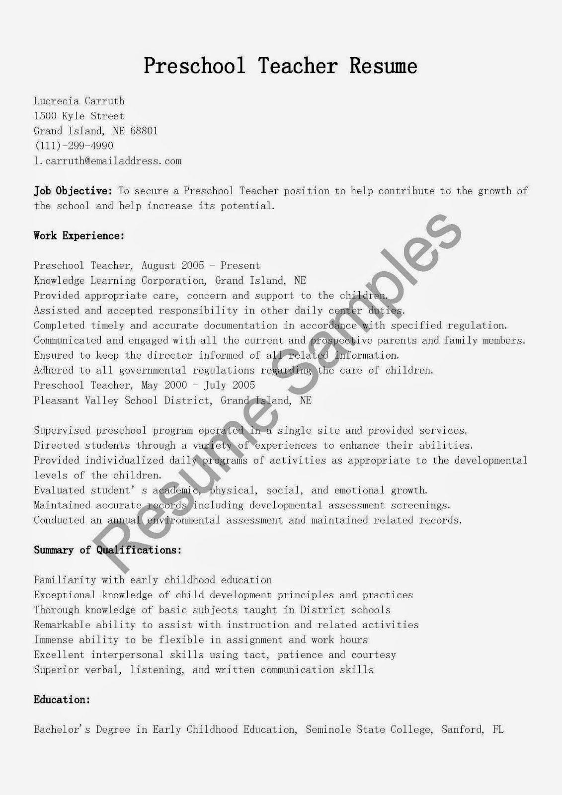 Resume Samples Preschool Teacher Resume Sample