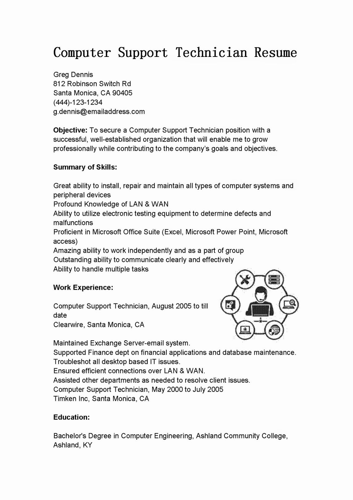 Resume Samples Puter Support Technician Resume Sample