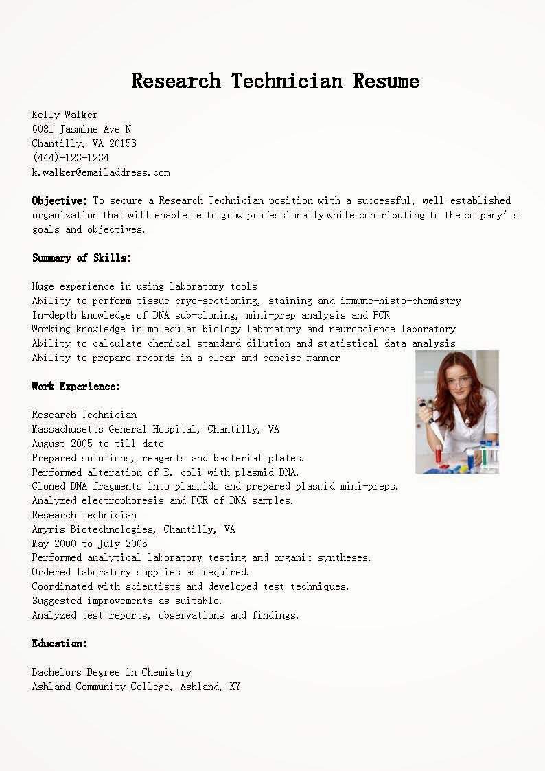 Resume Samples Research Technician Resume Sample