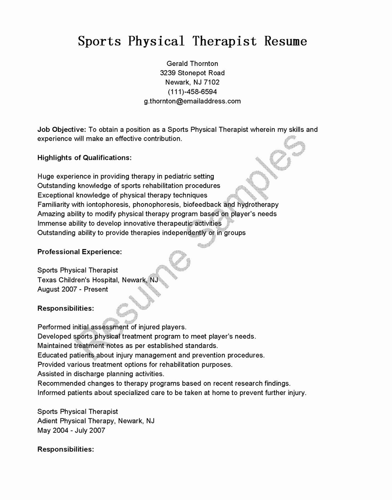 Resume Samples Sports Physical therapist Resume