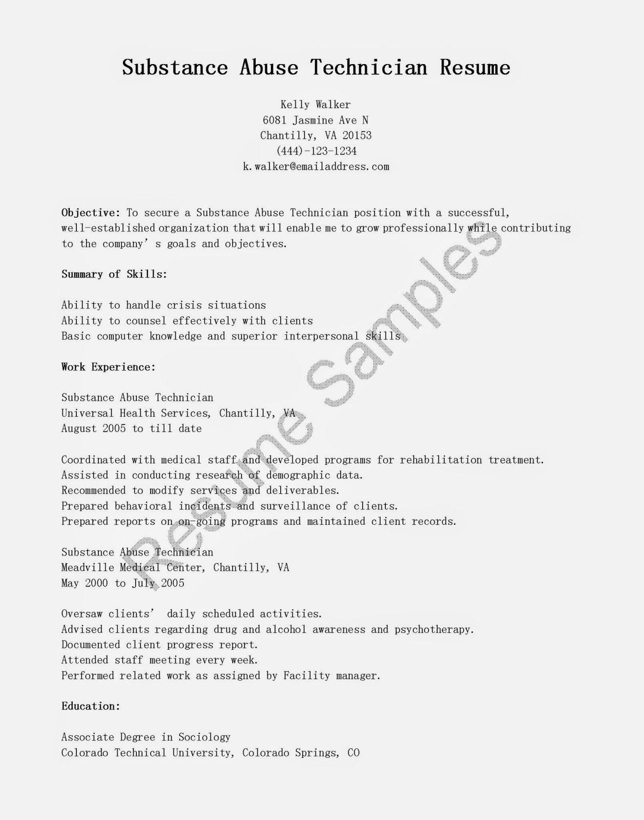 Resume Samples Substance Abuse Technician Resume Sample