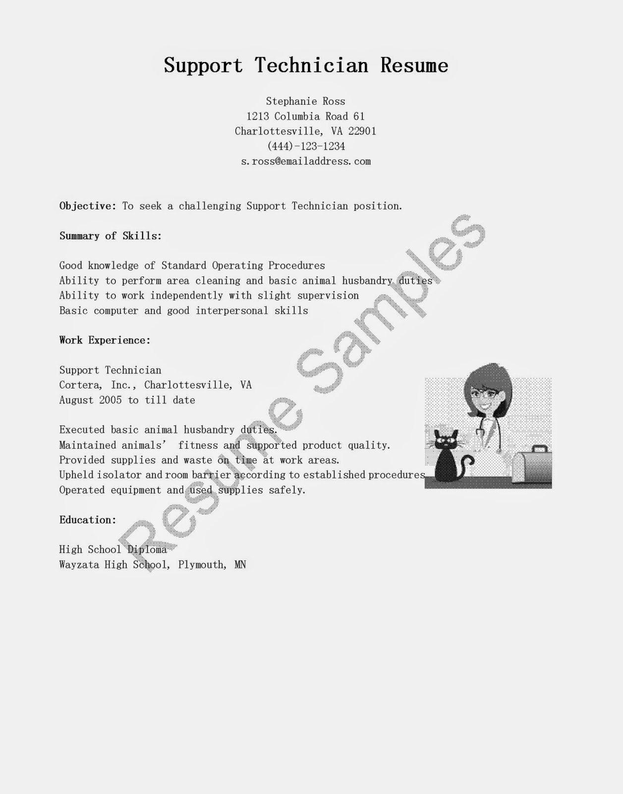 Resume Samples Support Technician Resume Sample