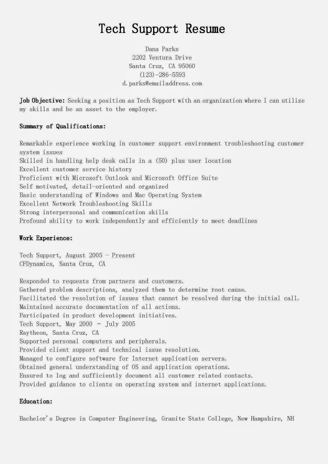 Resume Samples Tech Support Resume Sample