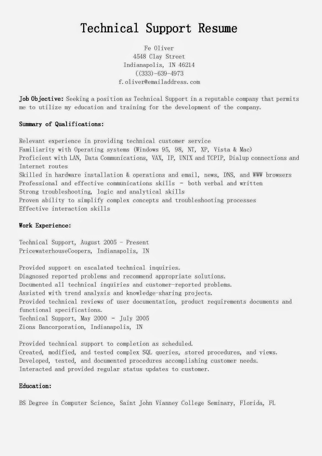 Resume Samples Technical Support Resume Sample