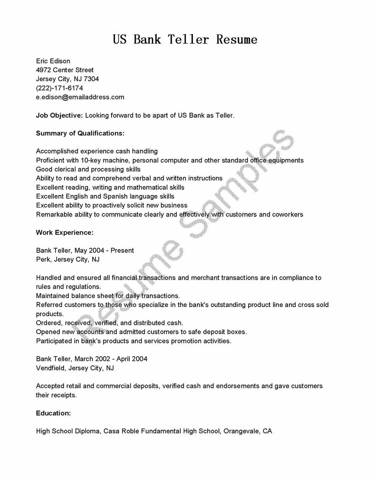 Resume Samples Us Bank Teller Resume Sample