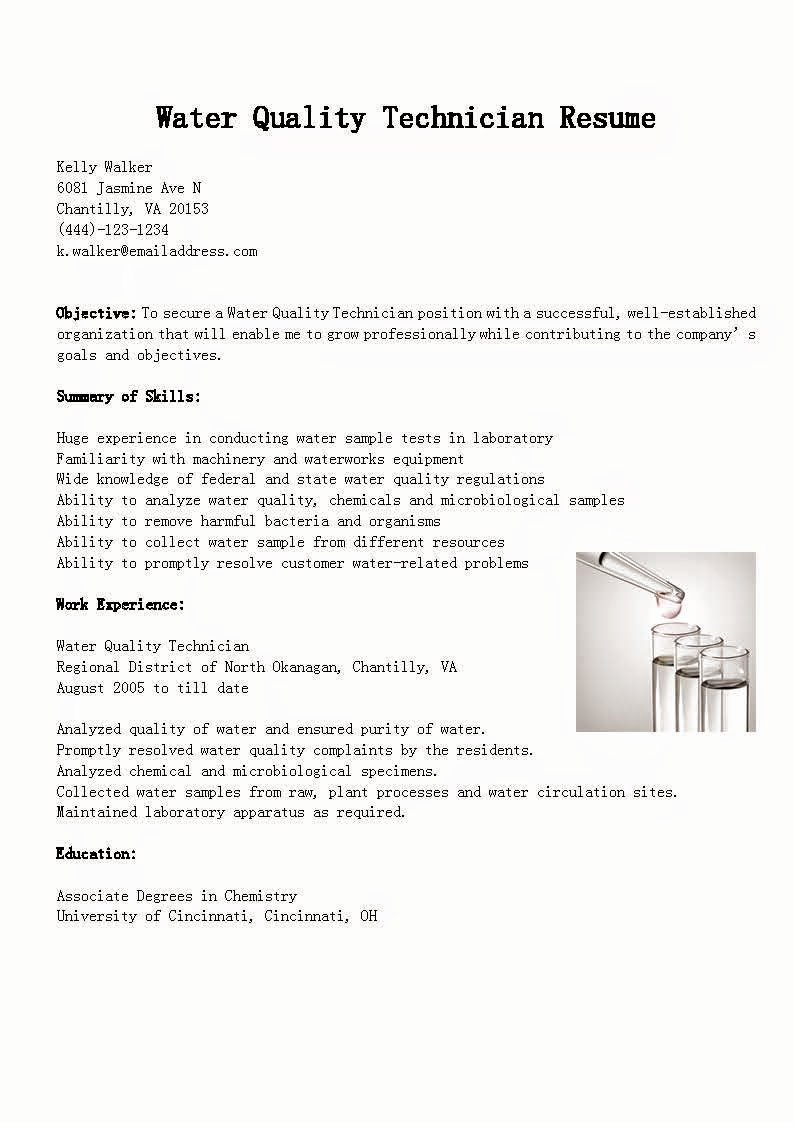 Resume Samples Water Quality Technician Resume Sample