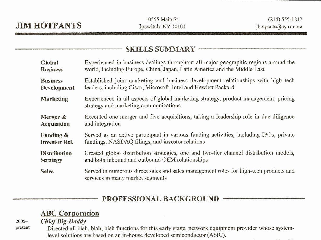 Resume Skills Summary