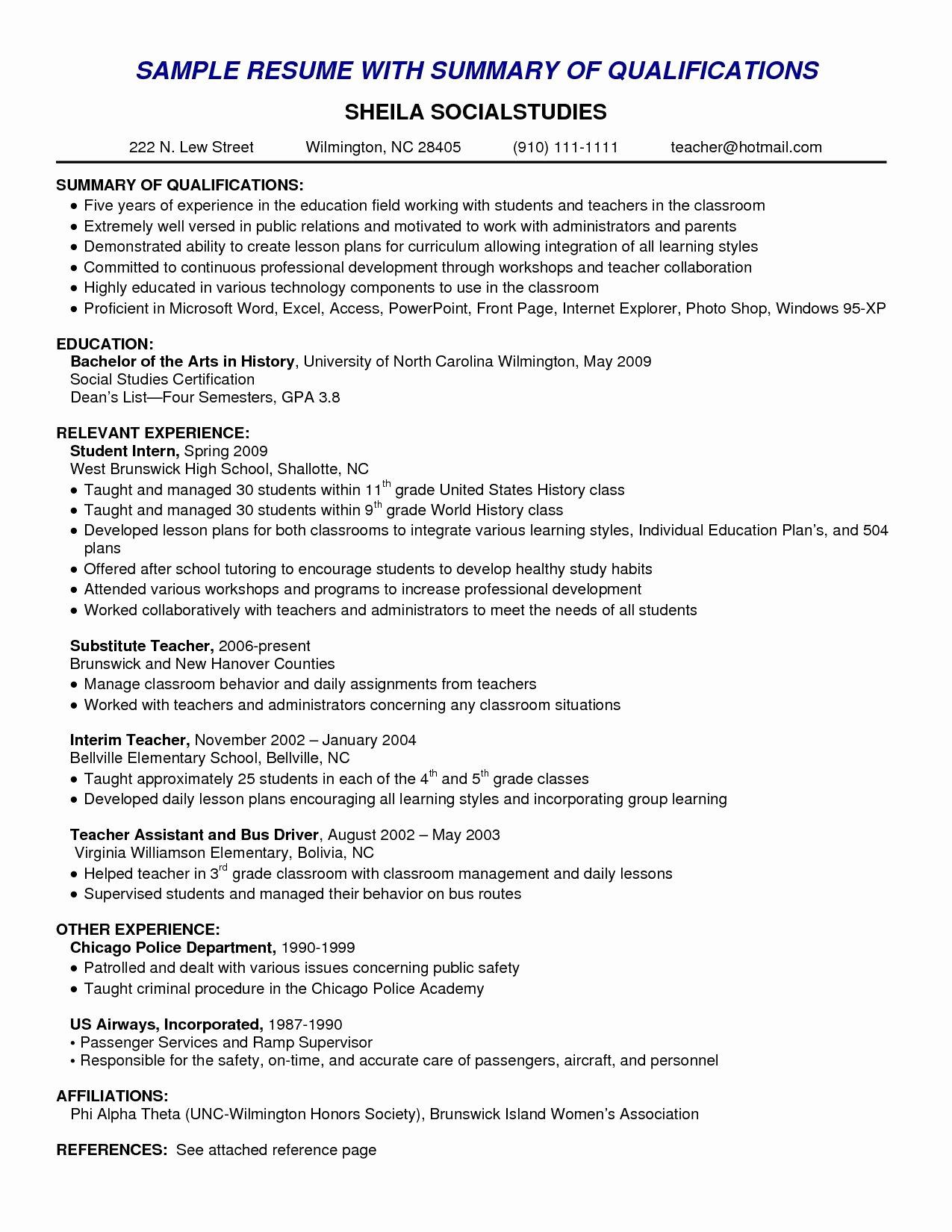 Resume Skills Summary Examples Example Of Skills Summary