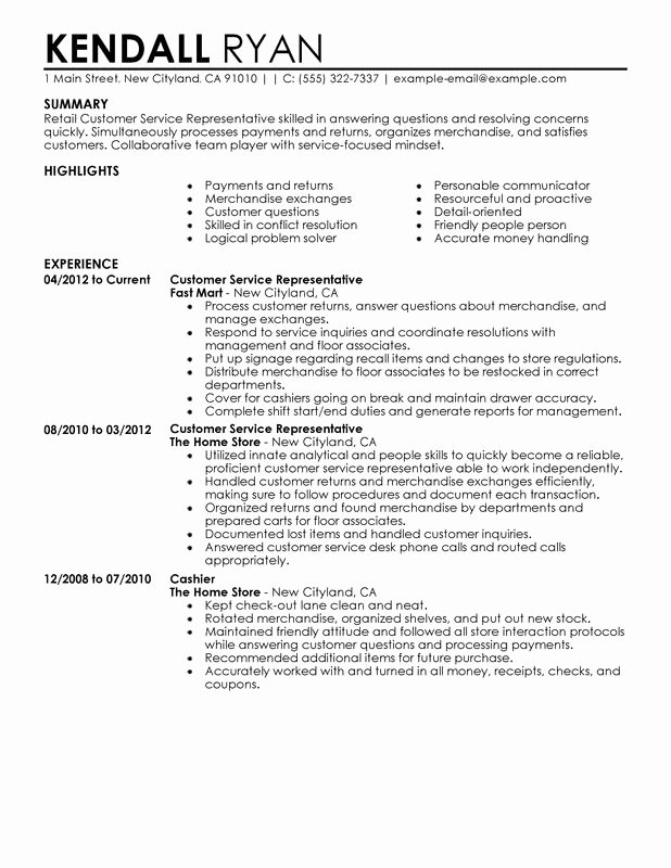 Resume Summary for Customer Service Best Resume Gallery