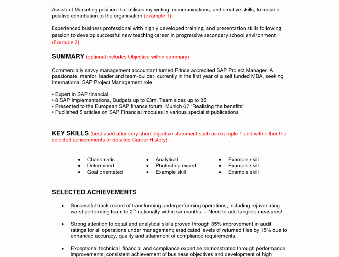 Resume Summary for Job Change