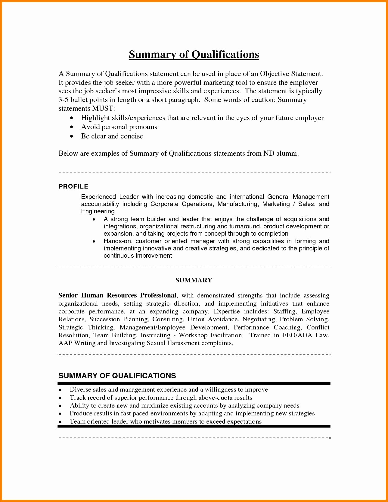 Resume Summary Statement Example Resume Summary Statement