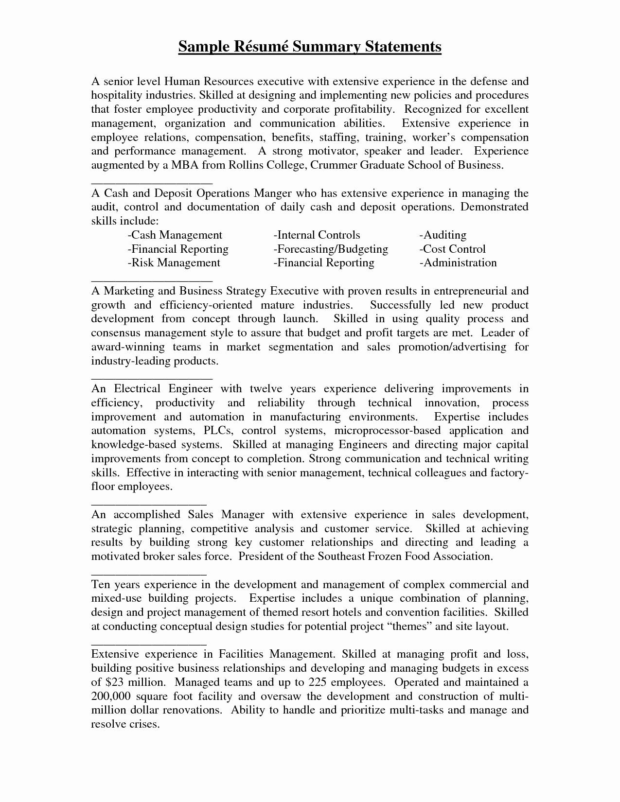 Resume Summary Statement Examples 2017 Human Resources