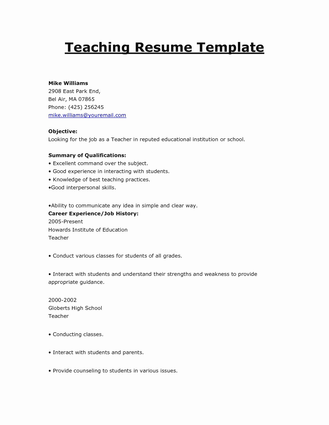 Resume Teaching Position Resume Ideas