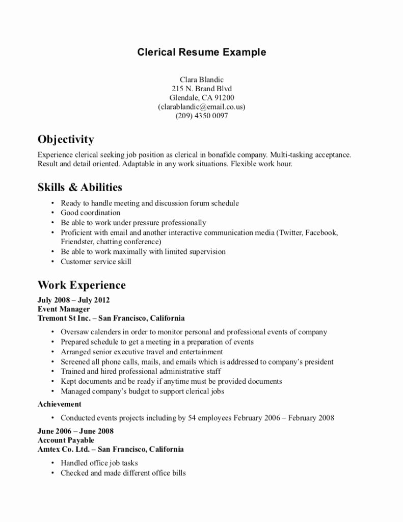 Resume Template Cover Letter Clerical Templates Fice