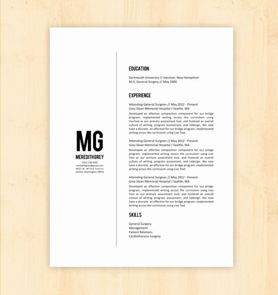 Resume Template Cv Template the Meredith Grey Resume